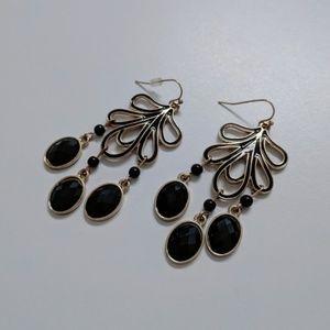 Francesca's Black Stone Dangling Earrings